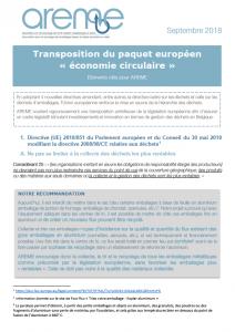 """Transposition du paquet européen """"économie circulaire"""""""