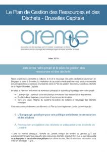 Le Plan de Gestion des Ressources et des Déchets - Bruxelles Capitale